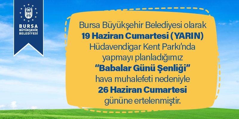Bursa Büyükşehir Belediyesi'nden önemli duyuru