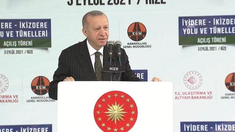 """Cumhurbaşkanı Recep Tayyip Erdoğan İyidere-İkizdere Yolu ve Tünelleri Açılış Töreni'nde yaptığı konuşmada """"Türkiye'nin değişik yerlerinden ne kadar so"""