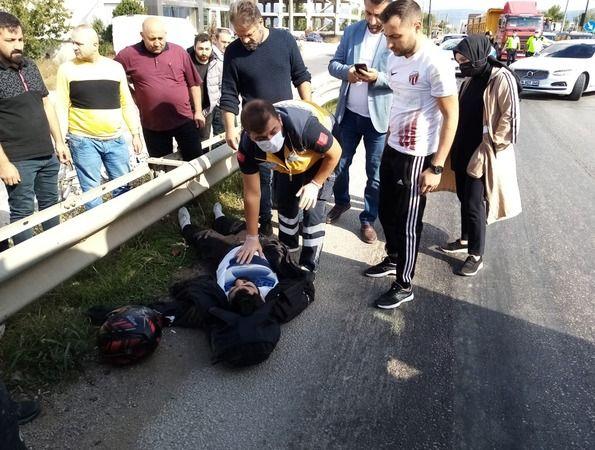 Bursa'nın İnegöl ilçesinde meydana gelen kazada otomobil ile çarpışan motosikletin sürücüsü ağır yaralandı. Kazayla ilgili soruşturma devam ediyor.