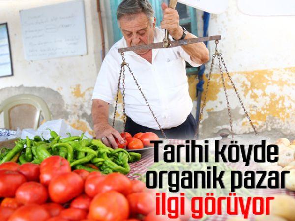 Tarihi köyde organik pazar ilgi görüyor