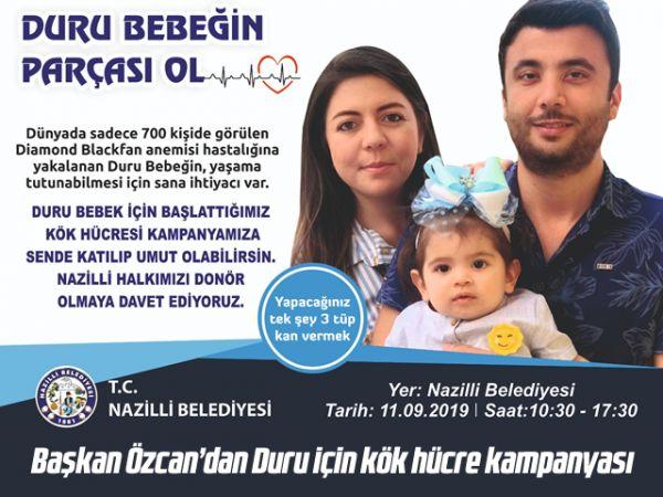 Başkan Özcan'dan Duru için kök hücre kampanyası
