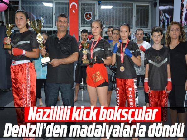 Nazillili kick boksçular Denizli'den madalyalarla döndü