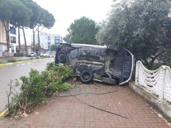 Takla atan araçtaki yolcu yaralandı