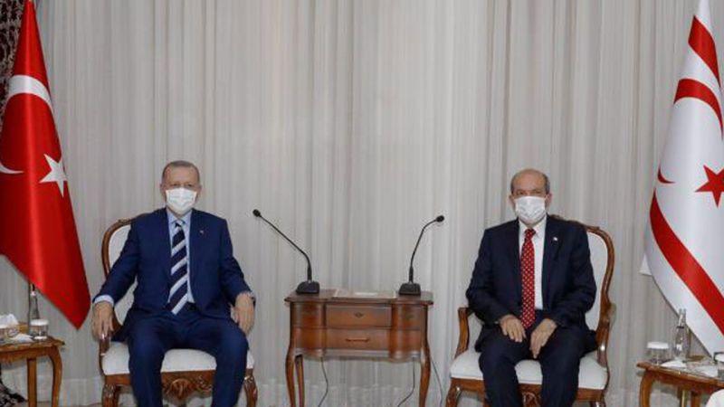 KKTC'de Cumhurbaşkanı Ersin Tatar, Cumhurbaşkanı Recep Tayyip Erdoğan İle Bir Araya Geldi