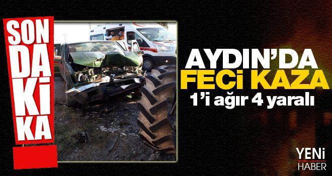 Aydın'da traktör ile pikap kafa kafaya çarpıştı