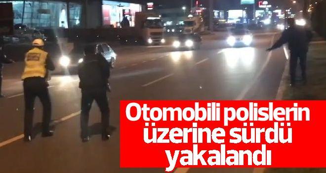 Otomobili polislerin üzerine süren şüpheli yakalandı