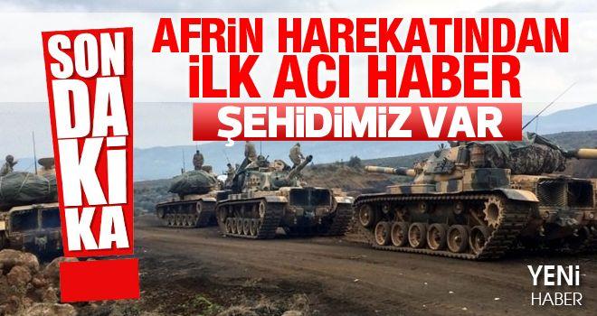 Afrin'de 1 şehit