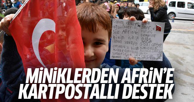 Öğrencilerden Mehmetçik'e kartpostallı destek
