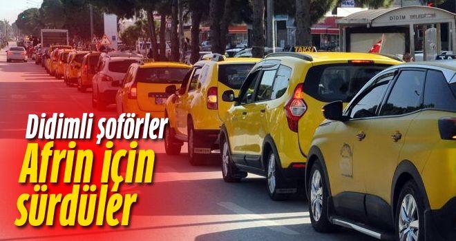 Didim'de şoförlerden Mehmetçiğe destek konvoyu