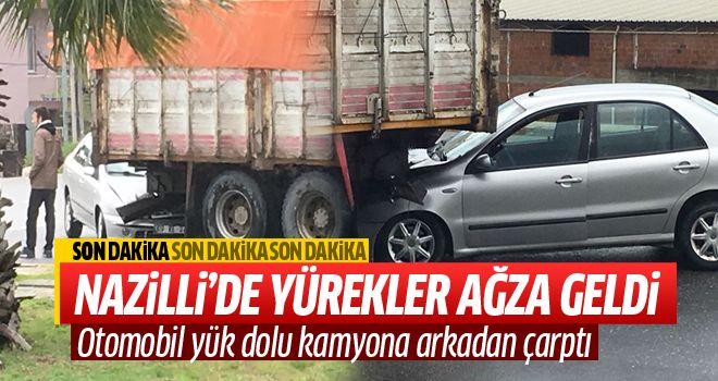 Nazilli'de otomobil kamyonete çarptı