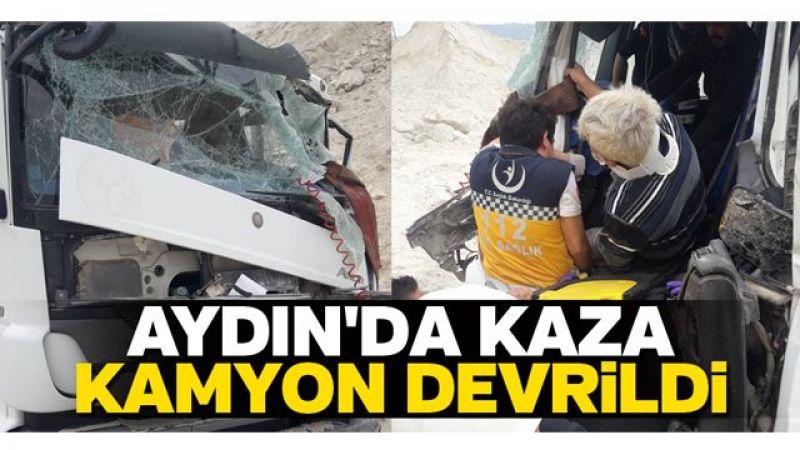 Aydın'da kaza: Kamyon devrildi