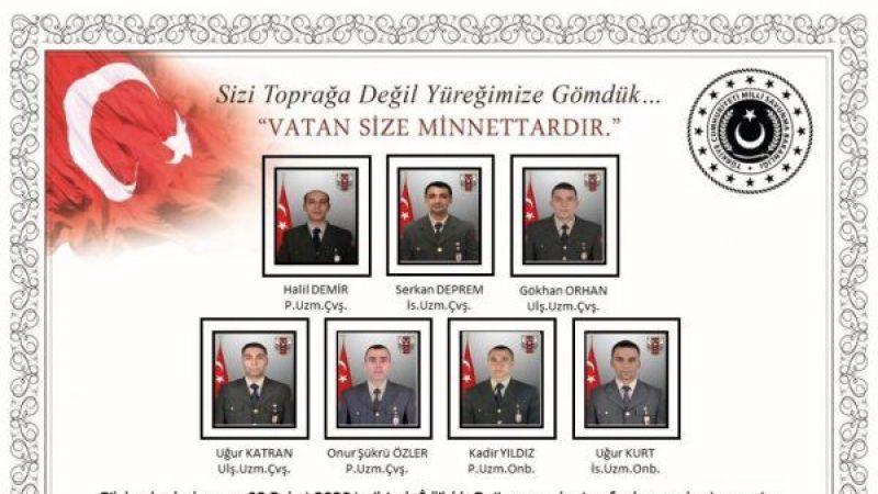 7 kahraman şehidimiz