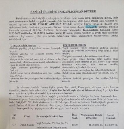 Nazilli Belediyesi Selahattin Acar Düğün Salonu için ihaleye çıkıyor