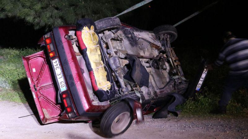 Aydın'da dere yatağına devrilen otomobilin sürücüsü öldü
