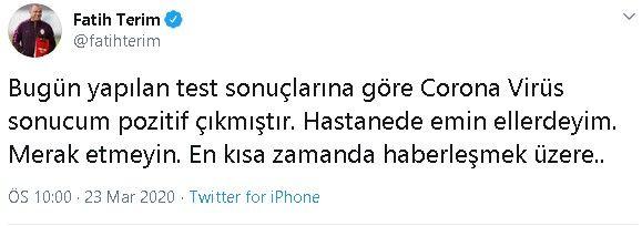 Fatih Terim'de korona pozitif çıktı