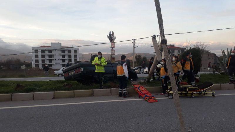 Çine'de devrilen otomobilin sürücüsü yaralandı