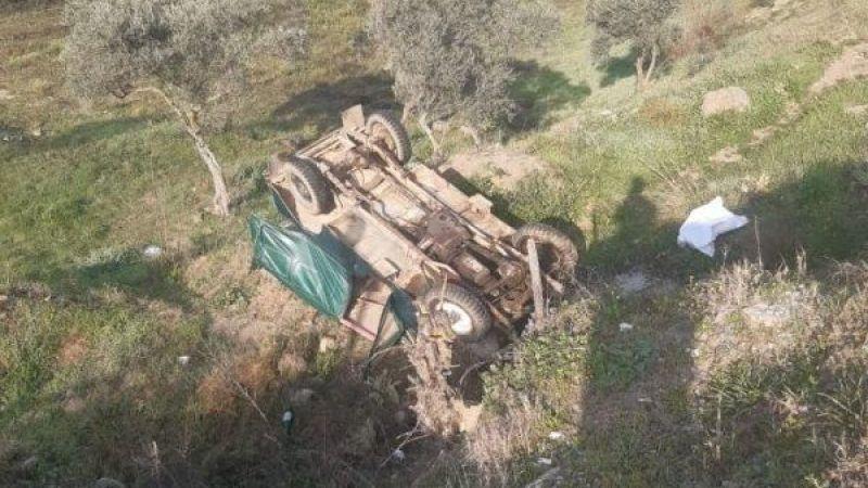 Aydın'da araç şarampole devrildi