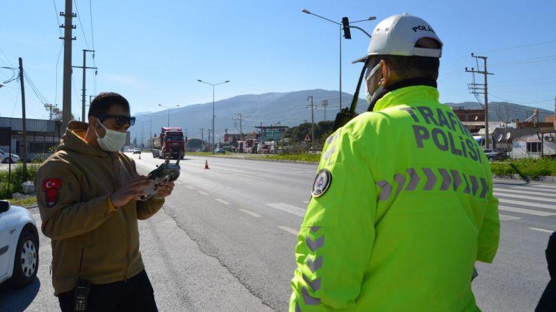 Söke'de drone ile yapılan trafik denetimde 20 sürücüye ceza kesildi