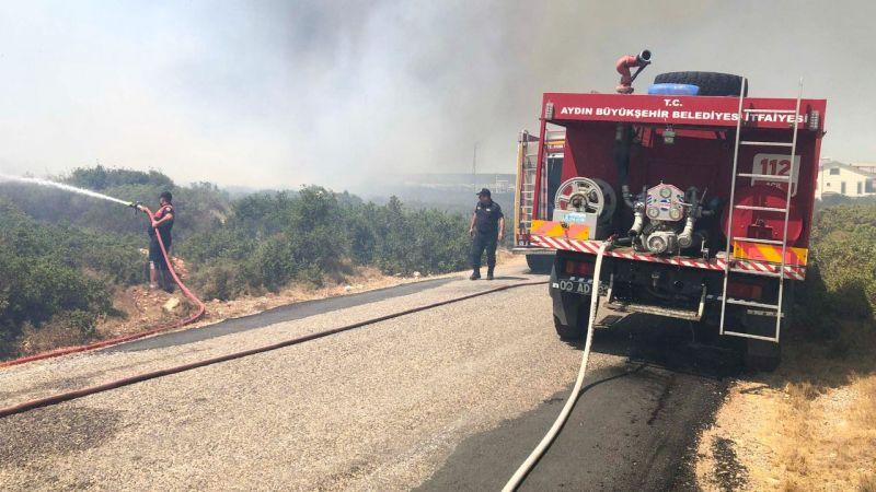 Aydın Büyükşehir Belediyesi itfaiyesi gün boyu yangınlarla mücadele etti