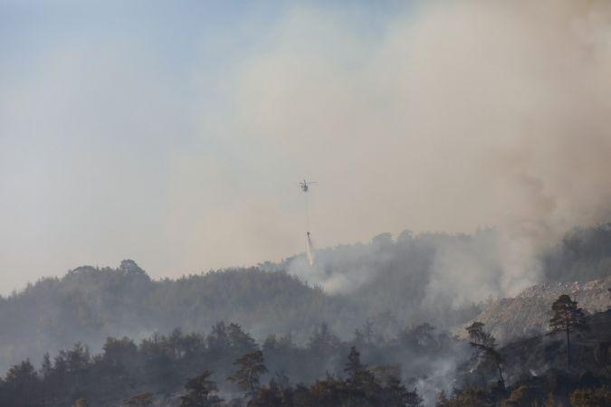 Aydın'ın Çine ilçesinde orman yangını söndürme çalışmaları devam ediyor
