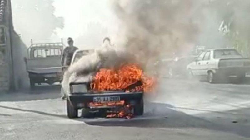 Aydın'da otomobil alev topuna döndü