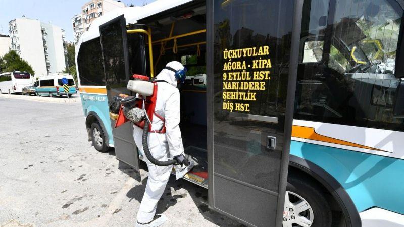 İzmir'de otobüs, taksi ve dolmuşlar dezenfekte edildi