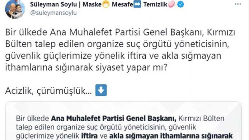 """Soylu'dan Kılıçdaroğlu'na """"Siyaset mafyası"""" benzetmesi"""