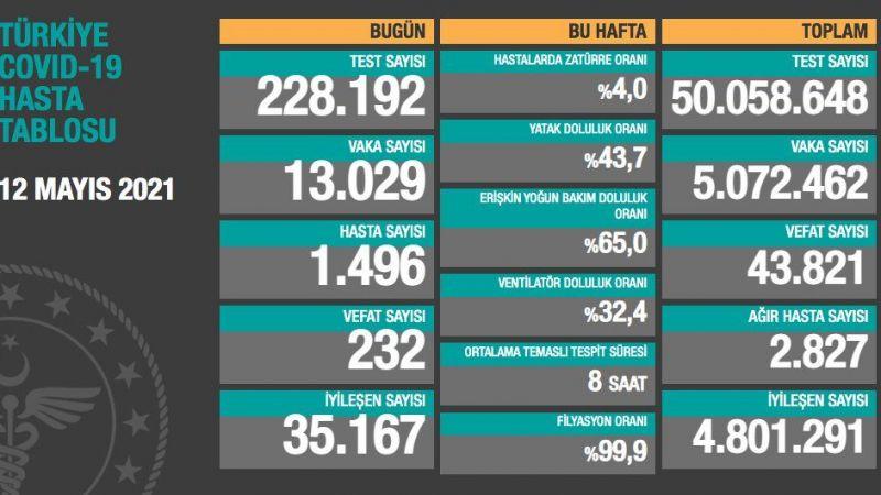 Türkiye'nin 12 Mayıs 2021 koronavirüs tablosu: Yeni vaka 13 bin 29