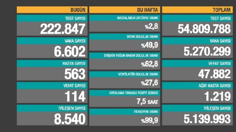 Korona günlüğü: 114 can kaybı, 6 bin 602 yeni vaka