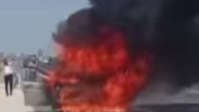 Otoyolda seyir halindeki otomobil yandı..