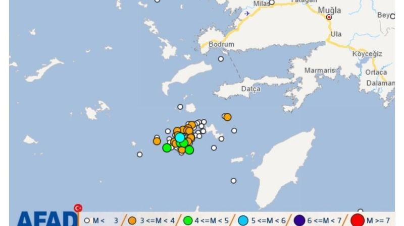 Datça açıklarında 12 saatte 131 deprem