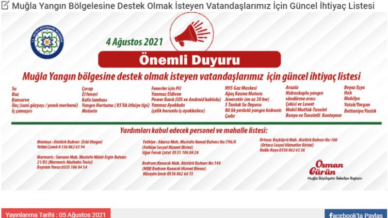 Muğla'nın ''Acil ihtiyaç listesi'' yayınlandı