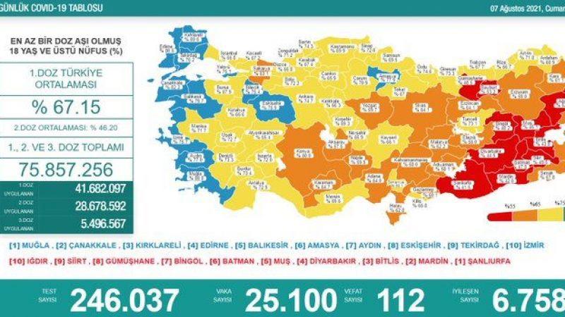 7 Ağustos covid raporu: Vaka sayısı 25 bin 100, kaybedilen can 112
