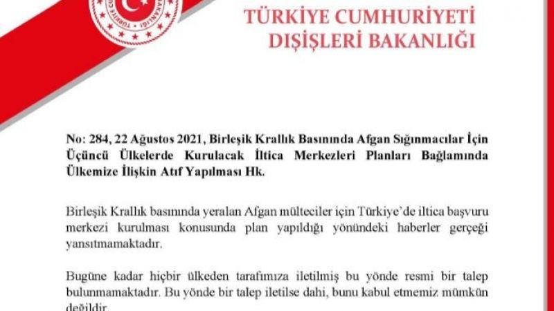 """Dışişleri: """"Birleşik Krallık'ın Türkiye'de iltica merkezi kurulması talebi yok"""""""