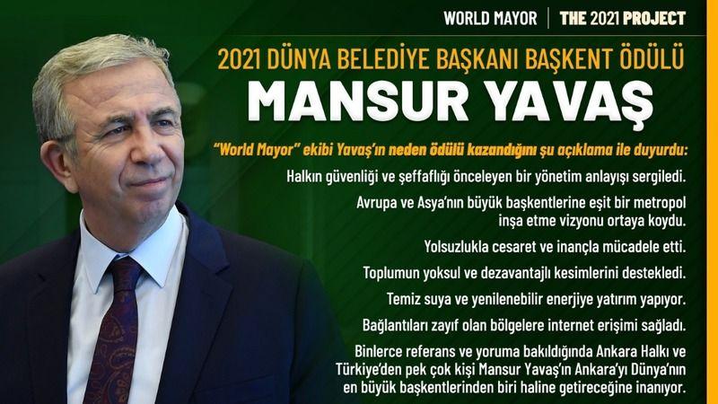 Mansur Yavaş'a ''Dünya Belediye Başkanı Ödülü''