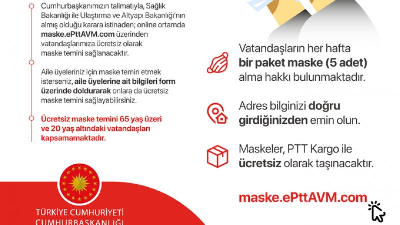 20-65 yaş arası vatandaşlara maske dağıtılacak