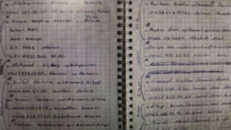 HDP binasında ele geçirilen PKK ajandasında, birçok eylemin faili teröristlerin bilgileri de var