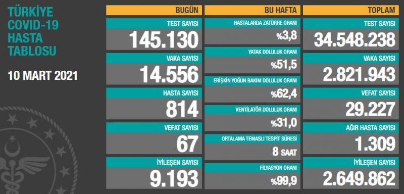 Türkiye'de son 24 saatte 14.556 koronavirüs vakası tespit edildi