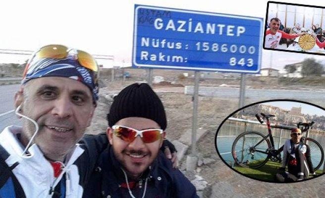 Urfalı bisikletliler Gaziantep'te