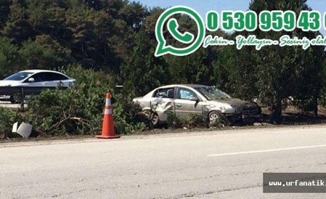 Urfa'da kaza yapan aracı olduğu yerde bıraktılar