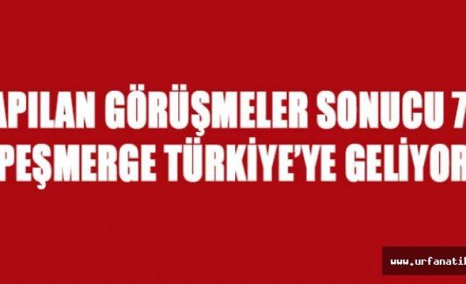 70 Peşmerge Türkiye'ye geliyor.