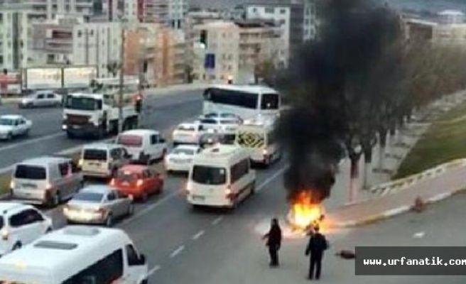 Şanlıurfa'da, Motorsiklet alev alev yandı