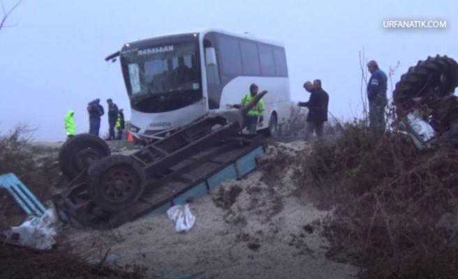 Otobüs ile Traktör Çarpıştı: 12 Yaralı