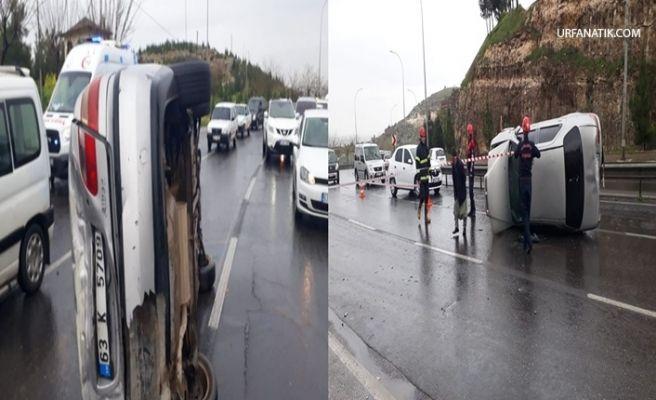 Urfa'da Virajı Alamayan Otomobil Yan Yattı: 1 Yaralı