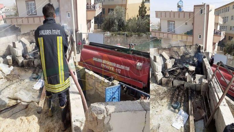 Suruç'ta bir evin damında yangın çıktı