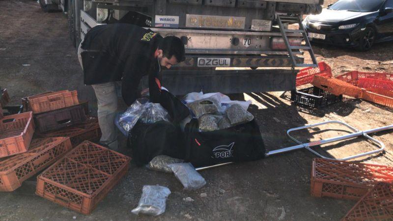 Şanlıurfa'da tırda 26 kilogram skunk ele geçirildi