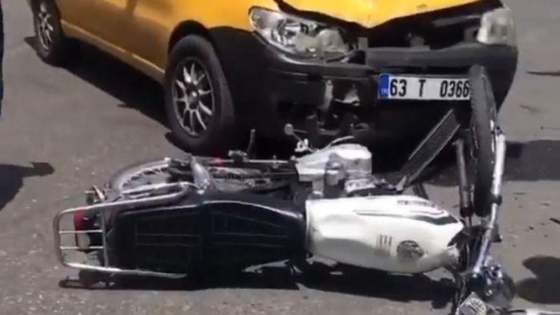 Urfa'da taksiye çarpan motosiklet sürücüsü yaralandı!