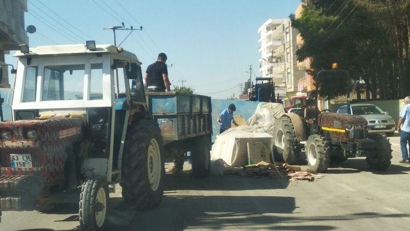 Şanlıurfa'da fayans yüklü traktör devrildi!