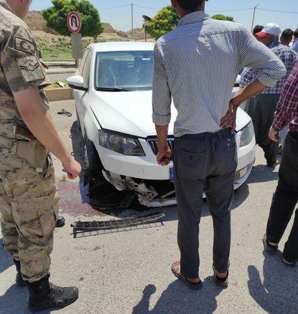 Urfa'da otomobil  kaldırıma çarparak durabildi