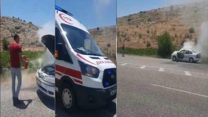 Urfa'da Araç yangınına İtfaiye değil sağlık ekipleri yetişti